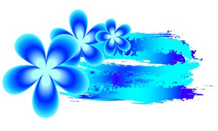 Blue  with watercolor and tropical frangipani flowers, vector art illustration. Imagens - 130983070