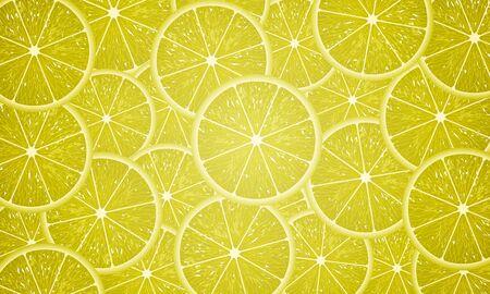 Round lemon slices, vector art illustration.