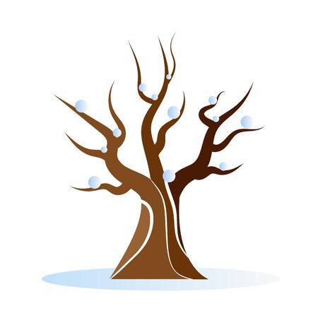 Leafless winter tree, vector art illustration. Ilustração