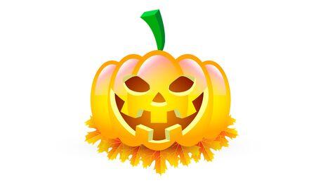 Halloween pumpkin isolated on autumn leaves, vector art illustration.