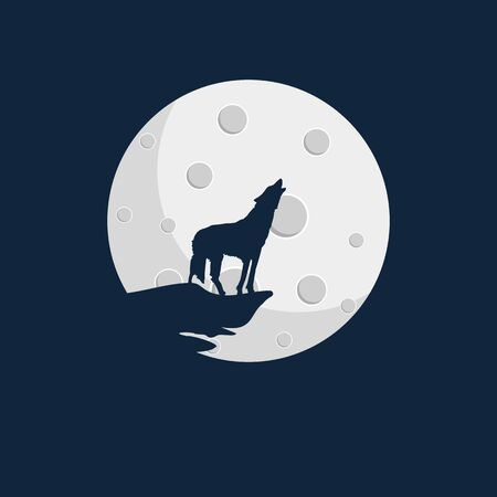 Wolf howls at the moon, vector art illustration. Imagens - 130983466
