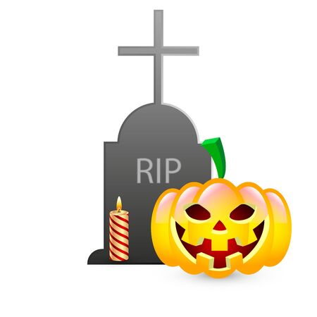 Tombstone and pumpkin with candle for halloween, vector art illustration. Imagens - 130983465