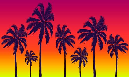 Palm trees on a  of summer red-yellow sunset, vector art illustration. Imagens - 130983468