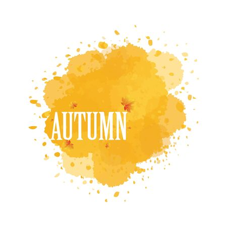 Autumn watercolor billboard, vector art illustration.