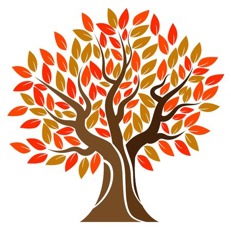 Autumn tree , vector art illustration.