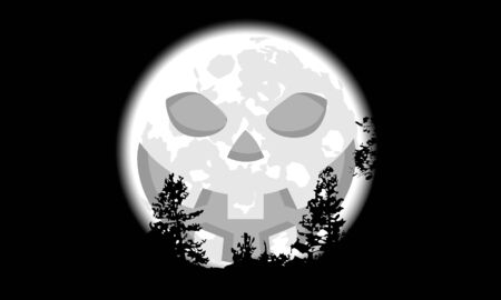 Full moon silhouette with pumpkin face, vector art illustration. Çizim