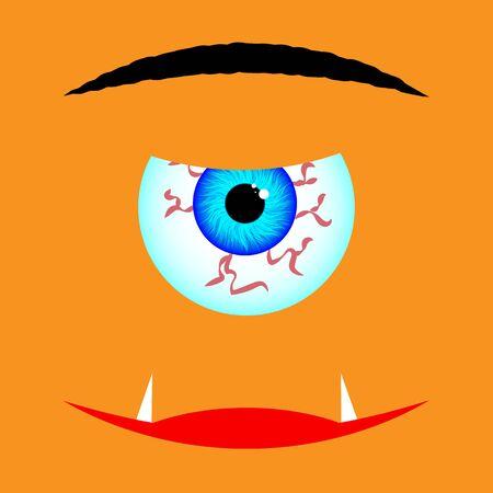 Monster cyclops for halloween, vector art illustration. Иллюстрация
