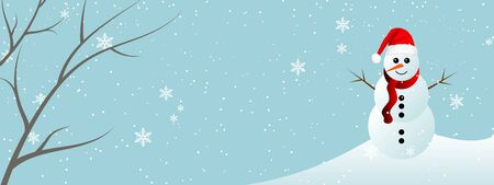 Winter holiday background with snowman and snowflakes, vector art illustration. Vector Illustration