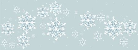 Long background with paper snowflakes, vector art illustration. Ilustracja