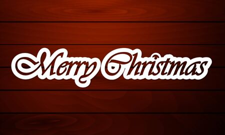Paper inscription Merry Christmas on the background of wooden boards, vector art illustration.