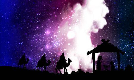 Jesus mary joseph on a nebula background, vector art illustration.