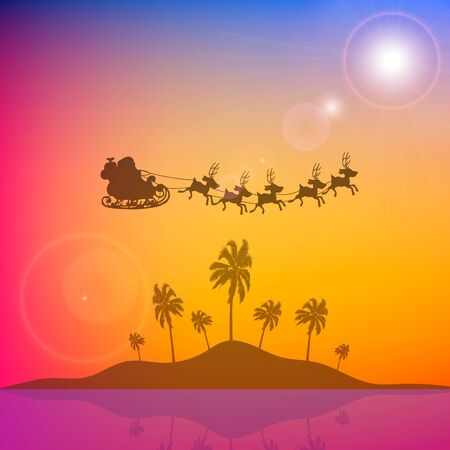 Santa claus flying over an island with palm trees, vector art illustration.