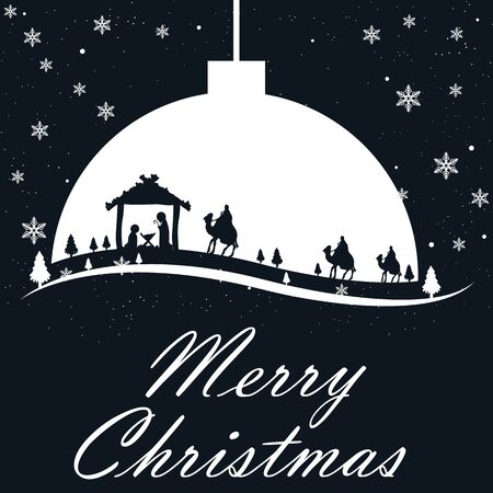 Christmas card Three Kings and Jesus Mary Joseph, vector art illustration.