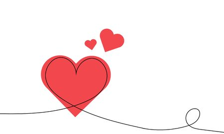 One continuous drawing line with a heart for St Valentine, vector art illustration.