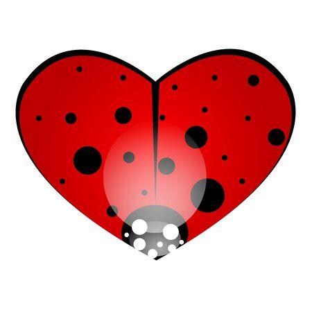 Heart shaped ladybug, vector art illustration.