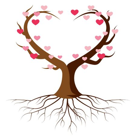 Heart shaped tree with heart shaped leaves, vector art illustration.