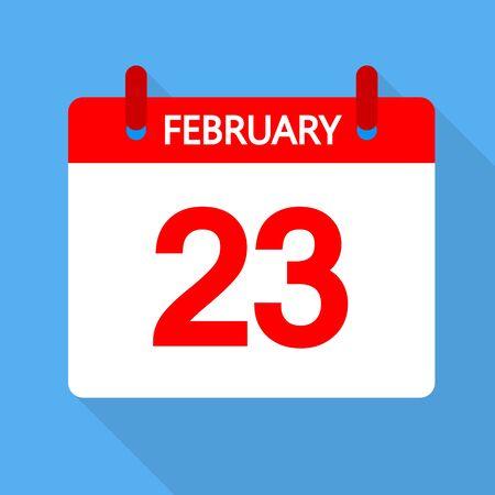 Calendar for February 23, vector art illustration.