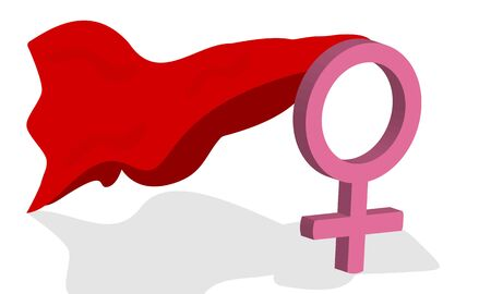 Female icon with red cloak on white  イラスト・ベクター素材