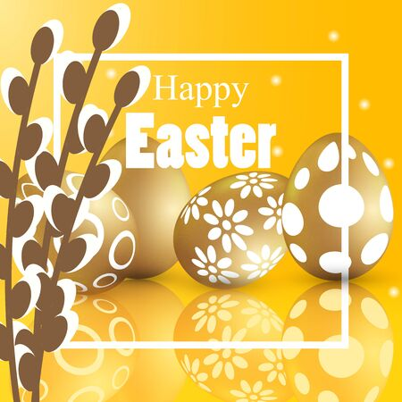 Willow and easter eggs banner, vector art illustration.