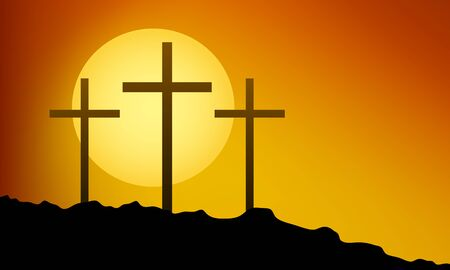 Three crosses on the mountain for Good Friday, vector art illustration.