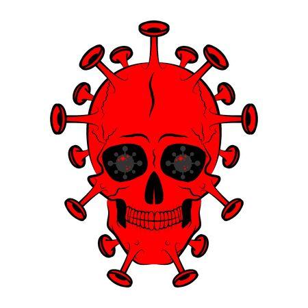 Skull shaped bacterium virus, vector art illustration.