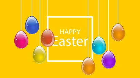 Multi colored eggs hang on the background of a greeting with Easter, vector art illustration.