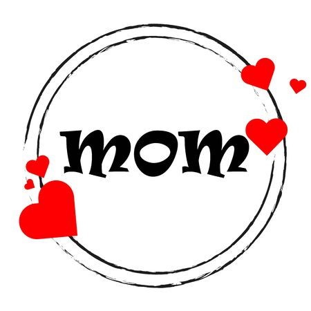 Circular stickers with hearts for mothers day, vector art illustration.