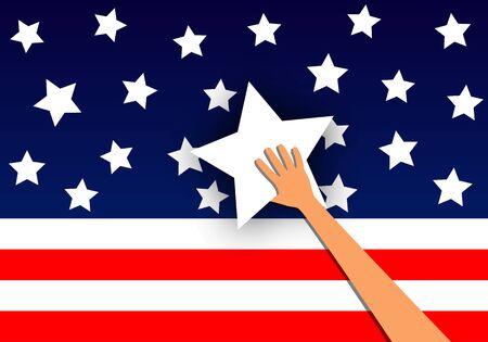 Hand holds star to usa flag, vector art illustration.