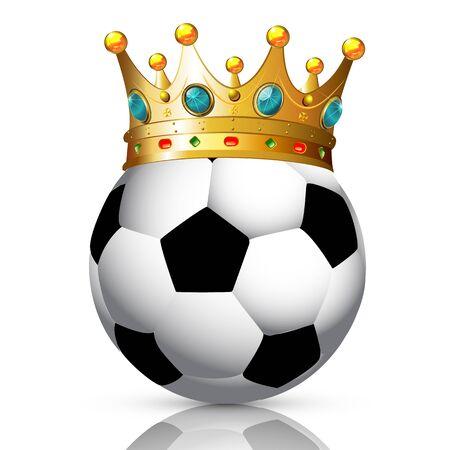 Soccer ball with crown, vector art illustration. Иллюстрация