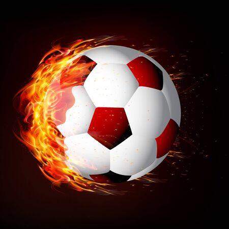 Soccer ball on fire, vector art illustration.