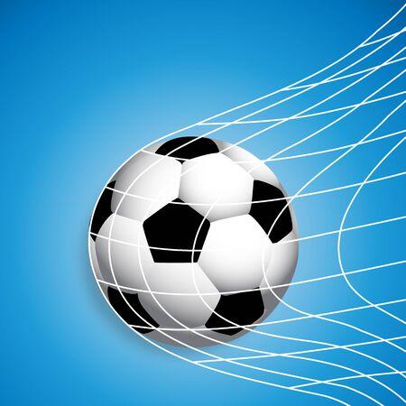Soccer ball in the net, vector art illustration.