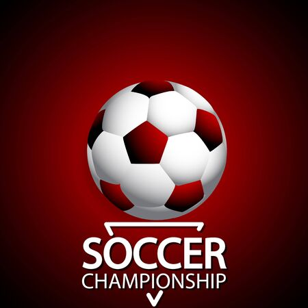 Soccer championship ball on red background, vector art illustration. Иллюстрация