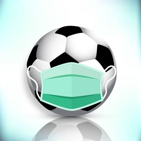 Soccer ball in a medical mask, vector art illustration.