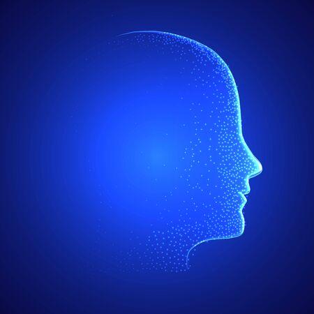 Face for artificial intelligence and machine learning, vector art illustration. Векторная Иллюстрация