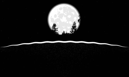 Landscape of the moon from the earth in black and white illustration. Vectores