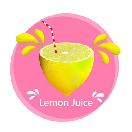 Lemon with a straw, vector art illustration. Ilustrace