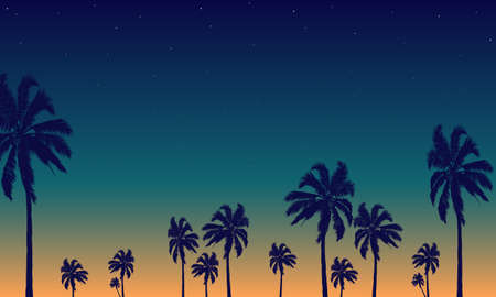 Night tropical palm trees background, vector art illustration. Ilustrace