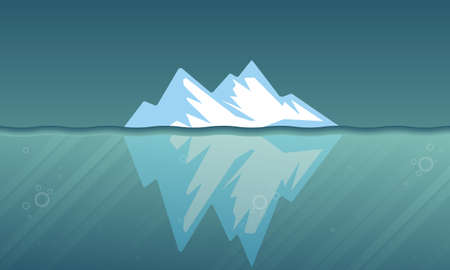 Surface and underwater iceberg, vector art illustration.