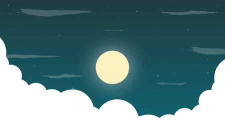 Landscape of starry moonlit sky with clouds, vector art illustration. Ilustracja
