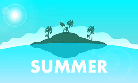 Summer beach landscape island sunny scene background, vector art illustration.