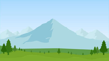 Summer landscape of the foothills, vector art illustration.