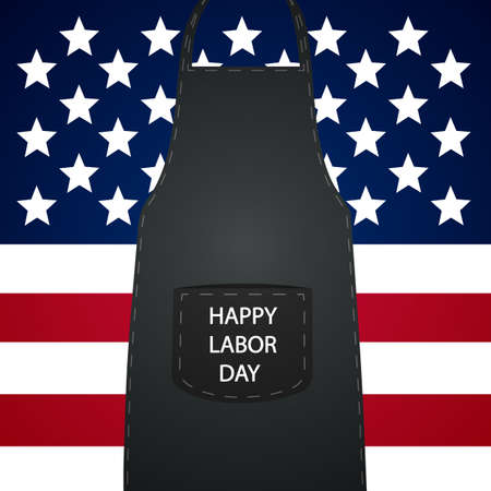 Apron and USA flag for workers day, vector art illustration.