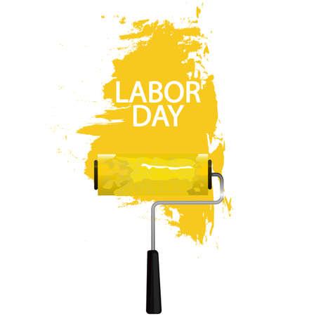 Labor day paint roller, vector art illustration.