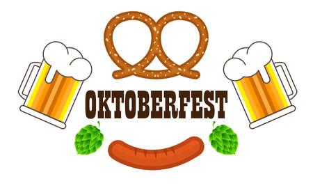 Beer mugs with foam grilled pretzel sausages for oktoberfest,