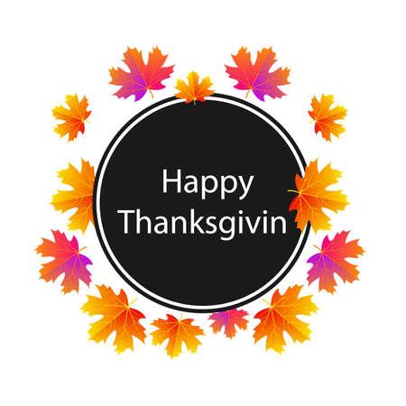 Circular sticker happy thanksgiving, vector art illustration.