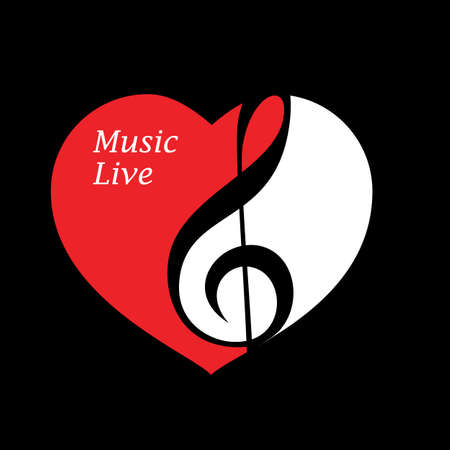 Treble clef inside the heart, vector art illustration.