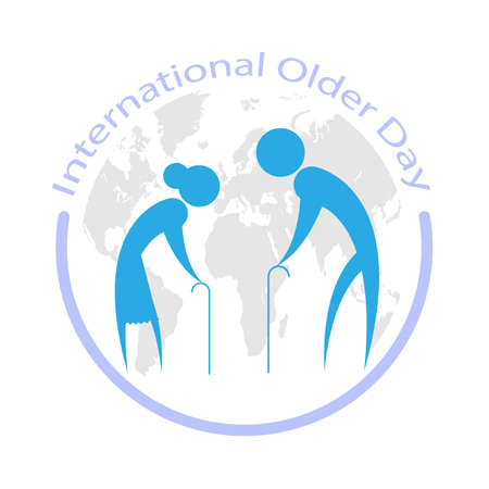 International day of older persons with older man and woman on world map, vector art illustration.