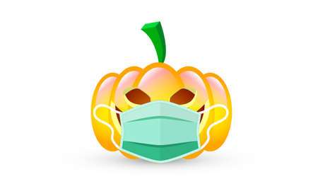 Halloween pumpkin in medical mask, vector art illustration.