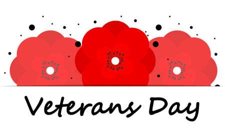 Red poppies for veterans day, vector art illustration.