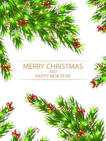 Banner with fir branches for christmas, vector art illustration.